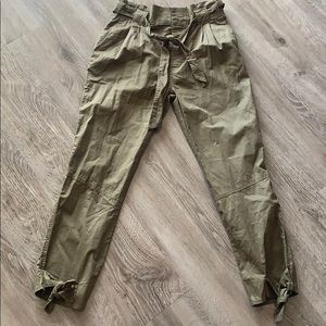 Self-tie Olive Green Paperbag Waist Pants
